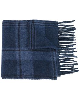 Checked Fringed Scarf