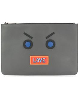 Faces Embroidered Clutch