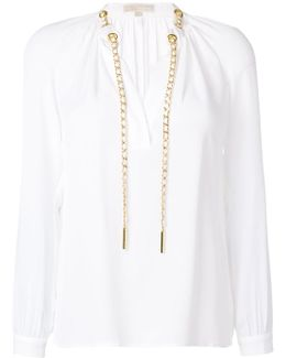 Drawstring Neck Longsleeved Blouse
