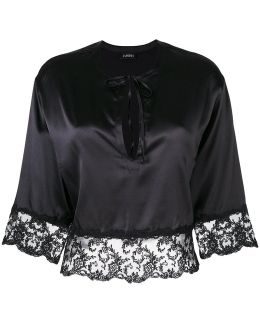 Lace Band Cropped Blouse