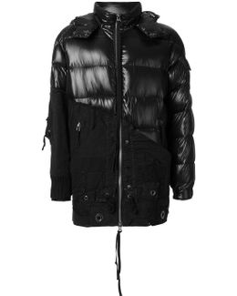 Contrast Panel Hooded Padded Coat