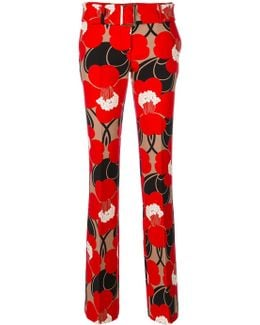 Straight Leg Floral Trousers