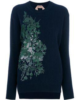 Floral Sequin Embroidered Sweatshirt