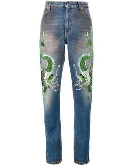 Boyfriend Dragon Patches Denim Jeans