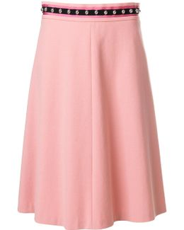 Embellished Waist Flared Skirt