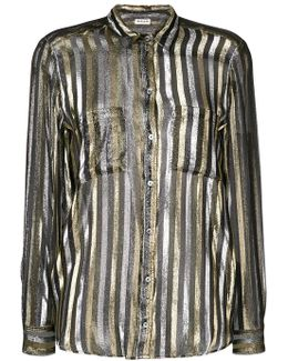 Stripe-embroidered Shirt