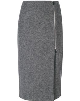 Side Zip Midi Skirt
