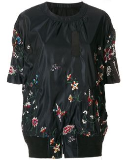 Embroidered Floral Shell Sweatshirt