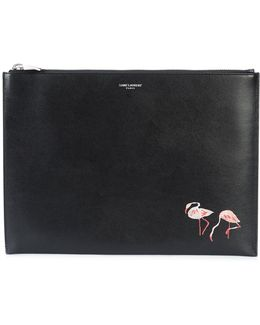 Flamingo Print Zip Pouch