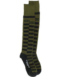 Box Check Long Socks