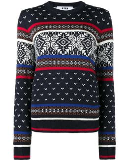 Crew Neck Knitted Jumper With Print