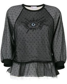 Eye Embroidered Lace Detail Sweatshirt