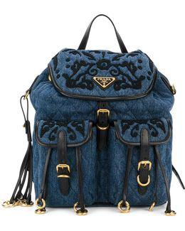 Embroidered Denim Backpack