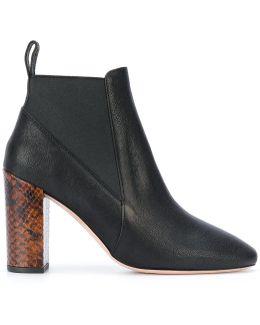 Snakeskin Effect Heel Ankle Boots
