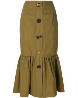 Buttoned Peplum Skirt