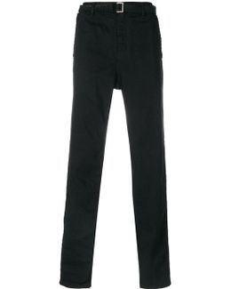 Embroidered Belt Drop-crotch Trousers