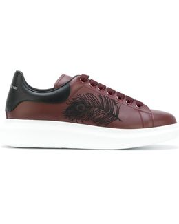 Extended Sole Sneakers With Feather Embroidery