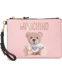 Teddy Bear Print Clutch Bag