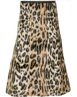 Leopard Print Textured Skirt