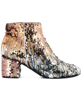 Sequins Embellished Ankle Length Boots