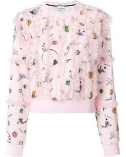 Plumetis Lace Trim Sweatshirt