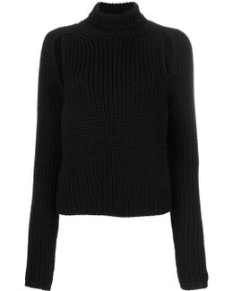 Slit Detailing Turtleneck Jumper