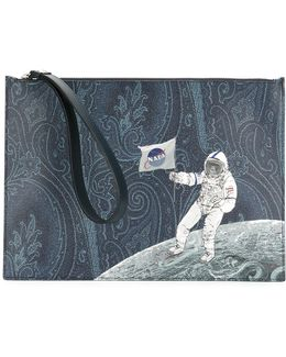 Astronaut Print Clutch