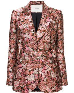 Belted Floral Tuxedo Blazer