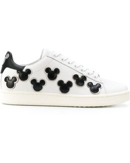 Leather Sneakers With Mickey Mouse Patch