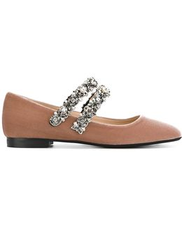 Embellished Strap Ballerina Shoes