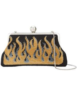 Flame Embroidered Clutch