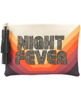 Night Fever Embroidered Clutch