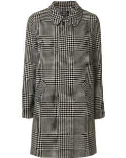 Houndstooth Checked Coat