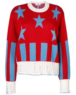 Star Ribbed Knit Pullover