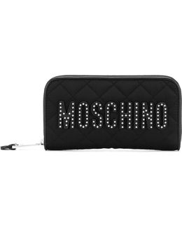 Studded Logo Zip Around Wallet