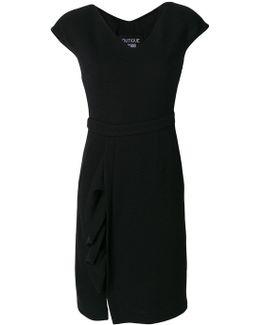 Ruffled Detail V-neck Dress