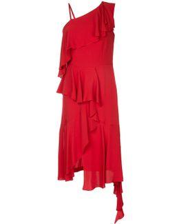 Asymmetric Ruffled One-shoulder Silk-crepe Midi Dress