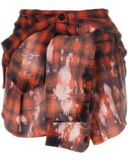 Plaid Shirt Effect Mini Skirt