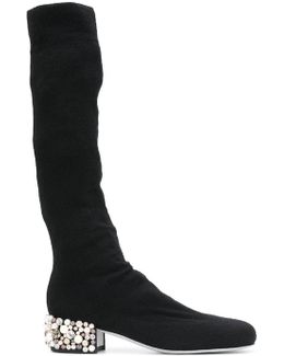 Embellished Stretch Knit Boots