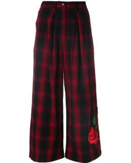 Plaid Culottes With Rose Embroidery