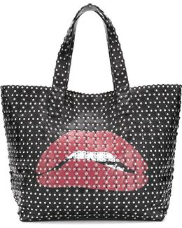 Studded Appliqué Lips Tote Bag
