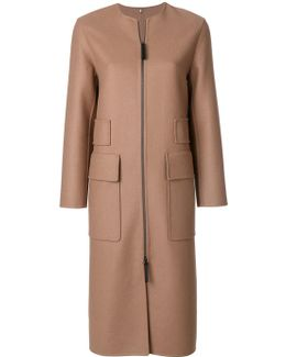 Zip-up Coat With Large Pockets