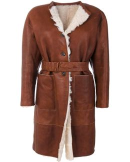 Belted Coat With Fur Lining