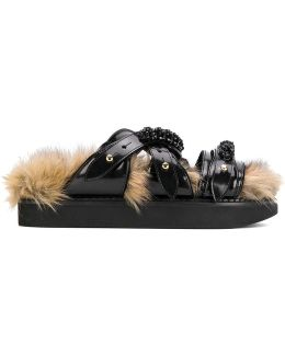 Faux Fur Lined Sandals With Beaded Embellishment