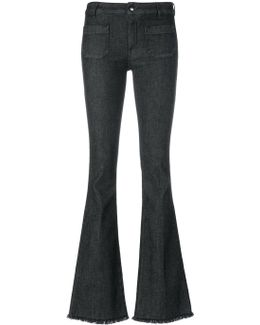Frayed Detail Flared Jeans