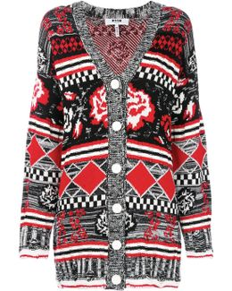 Rose Patterned Knit Cardigan