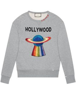 Cotton Sweatshirt With Planet