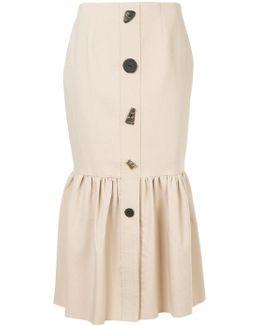 Gathered Button Up Skirt