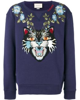 Angry Cat And Floral Appliqué Sweatshirt