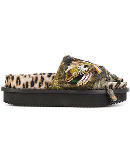 Embroidered Leopard Print Platform Sandals